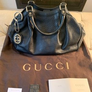 Authentic GUCCI Black Leather Medium Tote